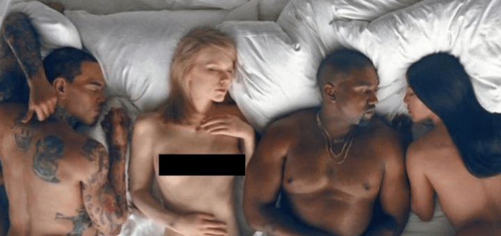 """Kanye West Releases Video For """"Famous,"""" w/Naked Depictions of Taylor Swift, Ray J"""
