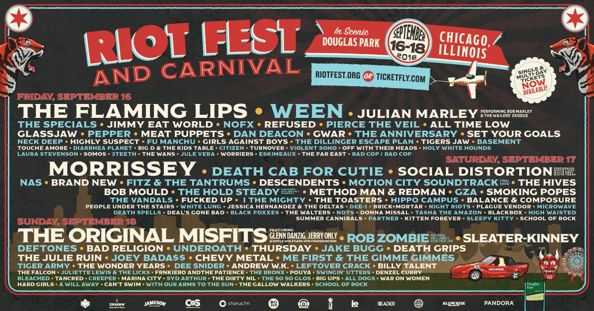 Riot Fest Chicago 2016 Daily Schedule Is Out