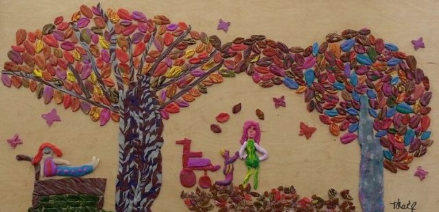The Joy of Leaves by Tamar Mag Raine. Polymer on wood. Over 350 individual leaves, each one different in color and pattern.