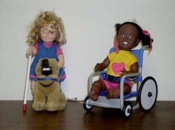 dolls with white cane wheelchair