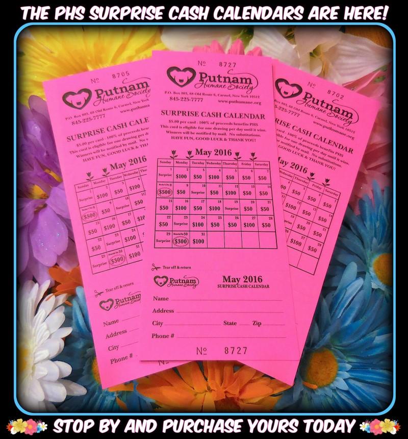 Cash Calendar May 2016 flyer Putnam Humane Society