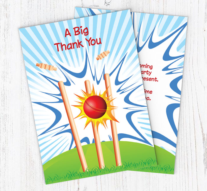 Cricket Thank You Cards Customise Online Plus Free Envelopes and