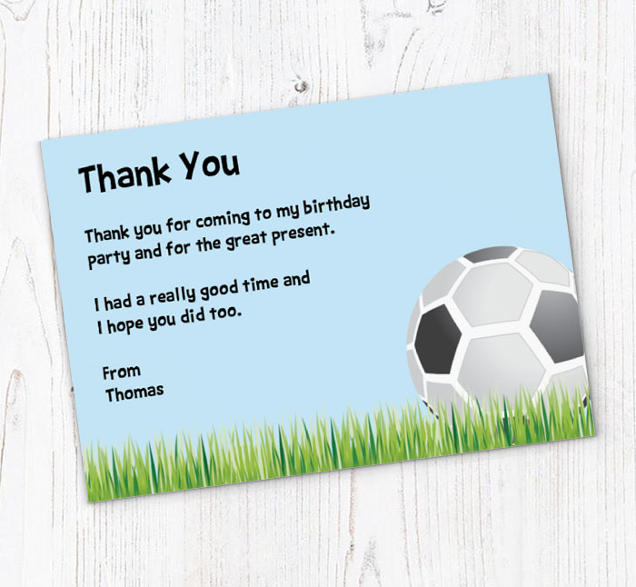 Football on Grass Thank You Cards Customise Online Plus Free