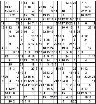25 x 25 Large Sudoku Solving Hints