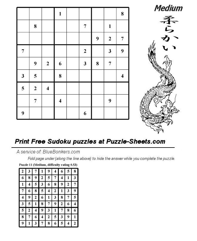 Bluebonkers  Free Printable Daily Sudoku Puzzle - MEDIUM - Day 011