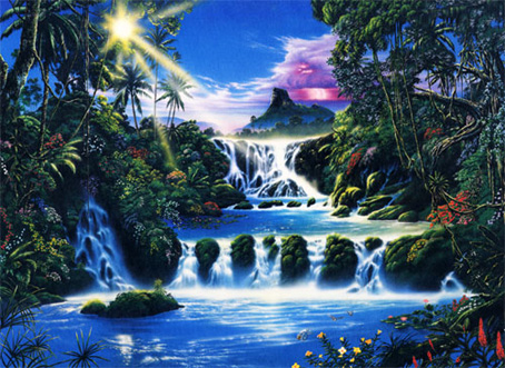 Thomas Kinkade Fall Wallpaper Jigsaw Puzzle Mystical Waterfall 1500 Pieces Ravensburger