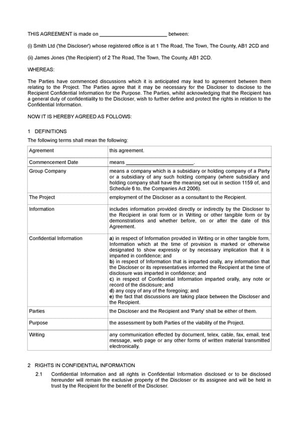 Template Non-disclosure agreement
