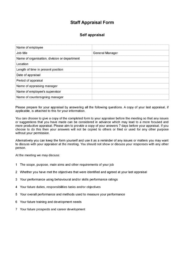 Template Staff appraisal form