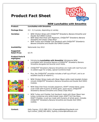 Sample Fact Sheet Sample Startups Fact Sheets Lunchables Never Be
