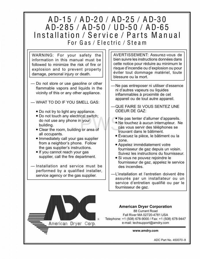 Diagrams, Parts and Manuals for American Dryer AD-285 Dryer