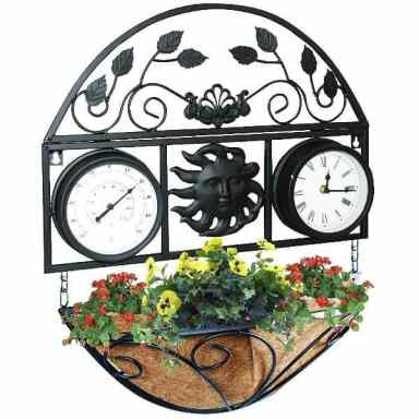 Kingfisher Decorative Wall Planter with clock and thermometer