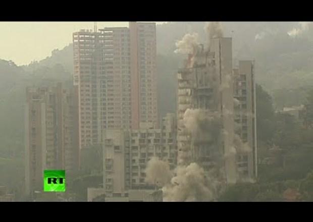 فيديو: تصوير من عدة زوايا لتفجير مبنى من 20 طابق في كولومبيا