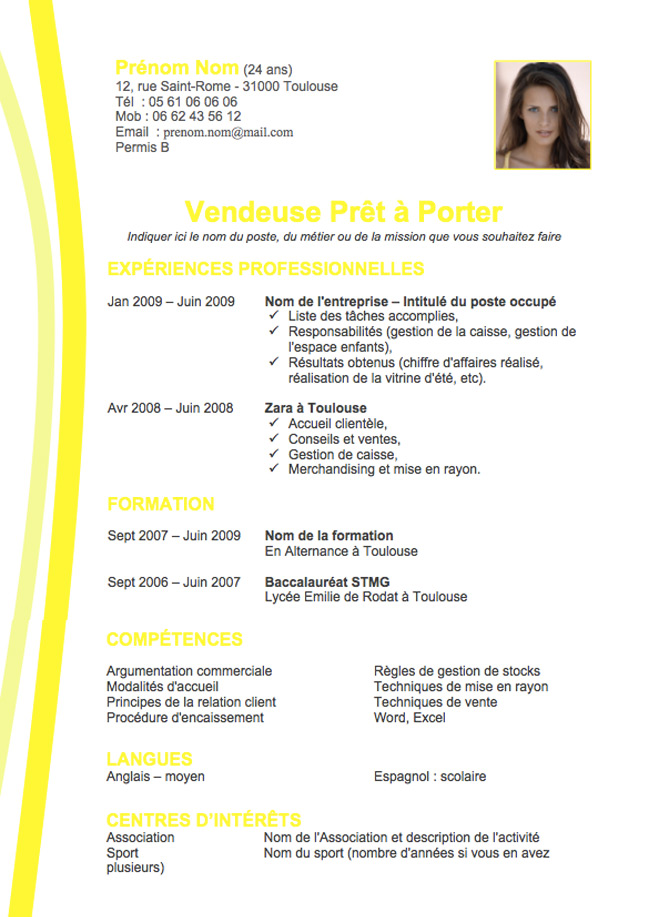 cv professionnel model cv word en francais