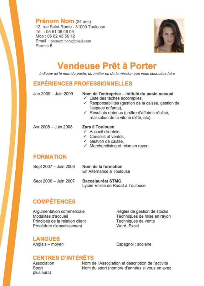 cv orange gratuit word
