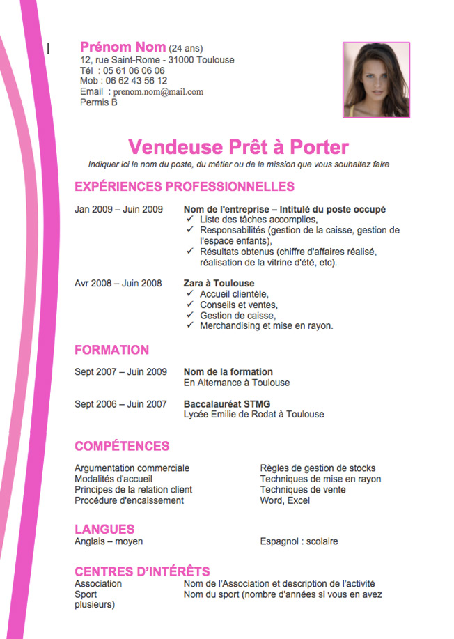 cv avec photo vendeuse