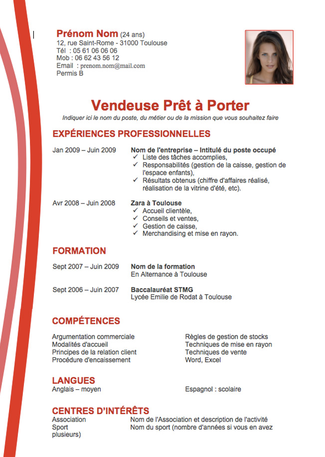 cv exemple rouge