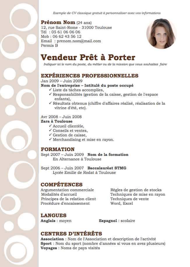 exemple cv design vendeur