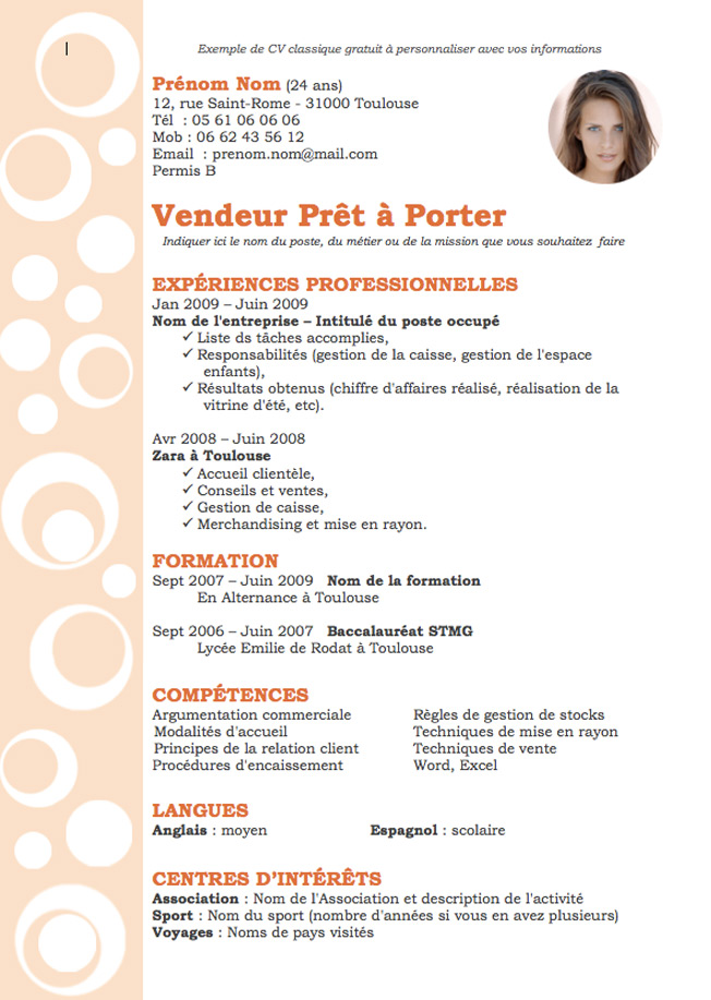 exemple de cv chocolatier