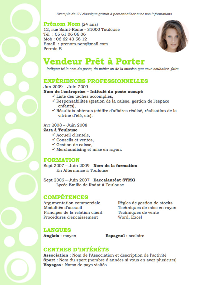 exemple cv visual merchandiser