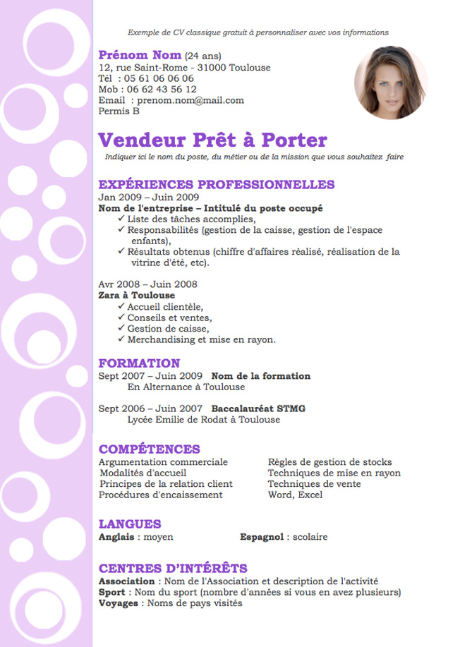 cv taille format