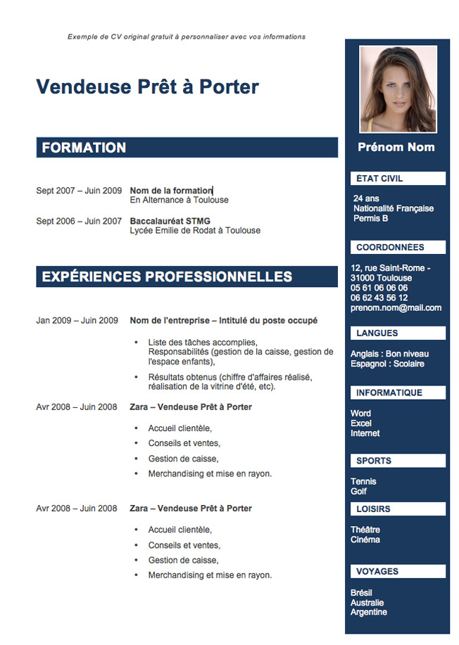 modele cv original etudiants