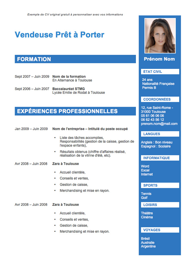 cv meme emploi date differentes