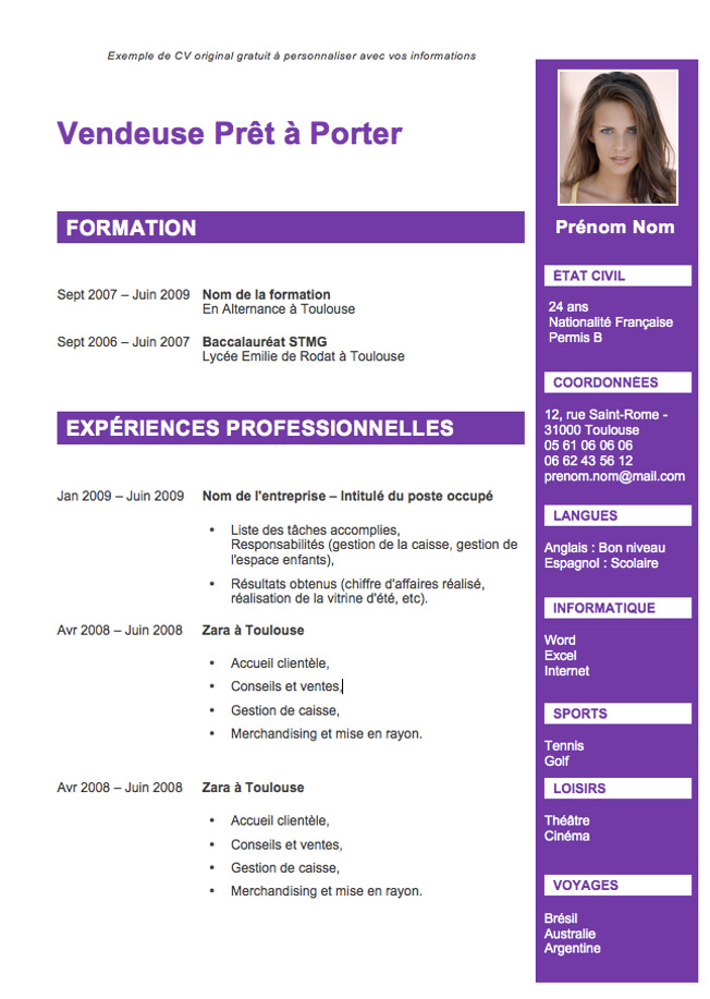 cv sans experience professionnelle modele commerce international