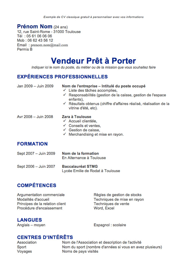 comment faire un cv marin