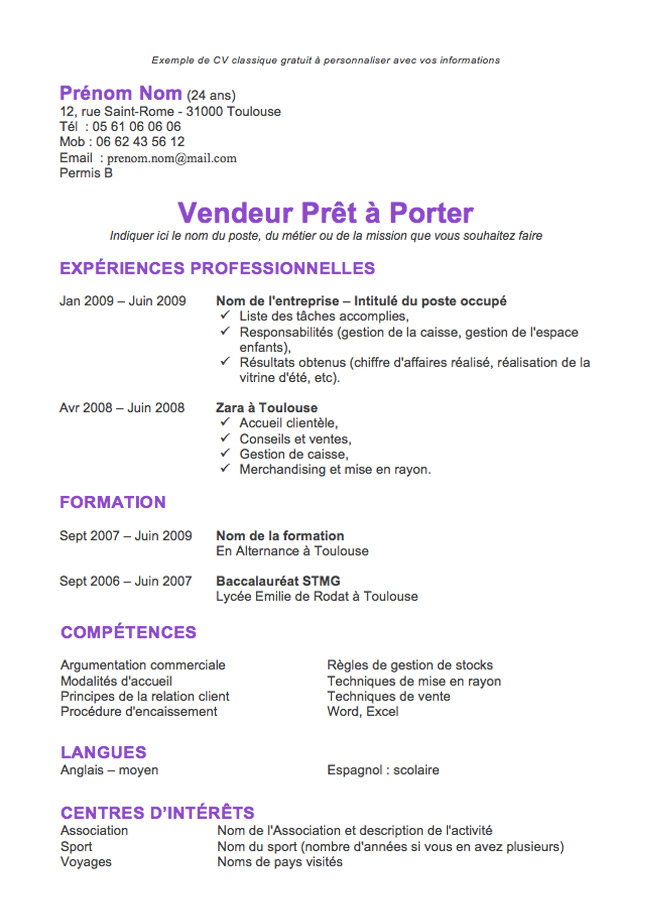 exemples cv manutentionnaire
