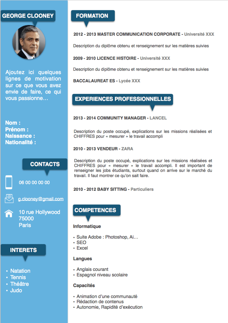 cv manutentionnaire en universite modele