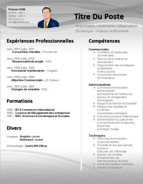 exemple cv pour agent administratif