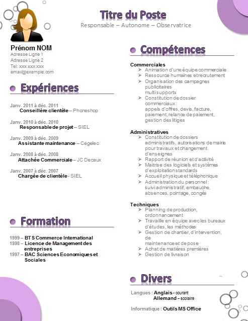 exemple de cv assistante administration
