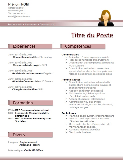 competences office cv