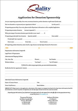 Charity/Sponsorship Requests Quality Beverage - sponsorship request form