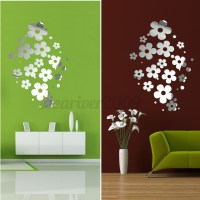 DIY 3D Silver Mirror Surface Wall Sticker Mural Decal Art ...