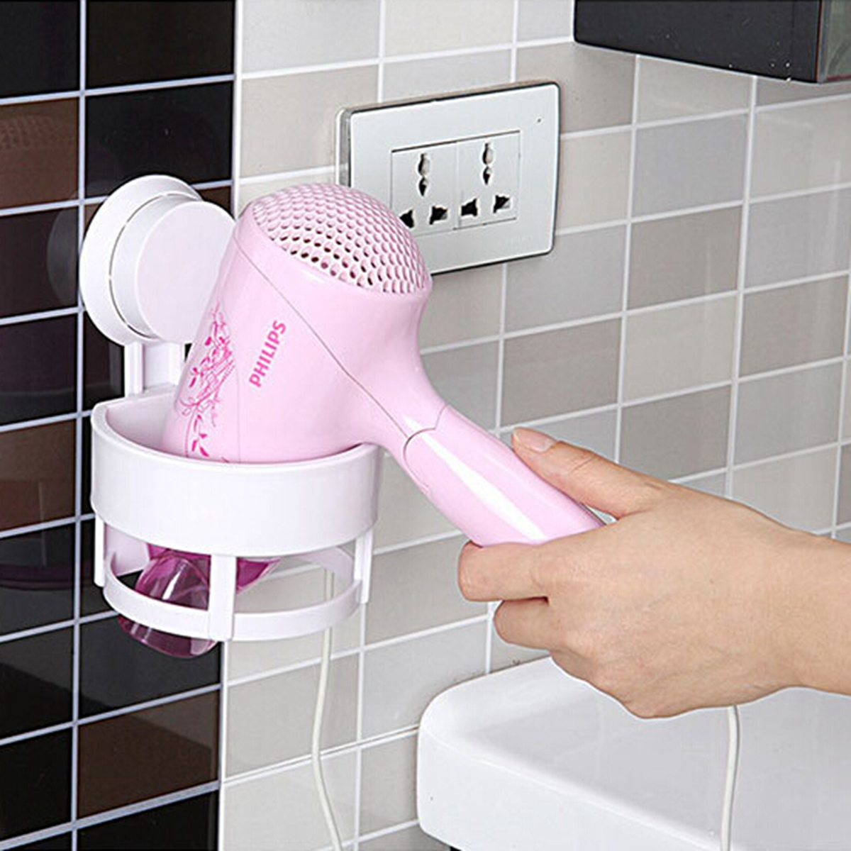 Suction Cup Blow Hair Dryer Stand Flat Holder Wall Mounted