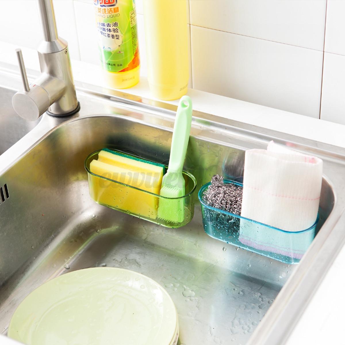 Kitchen Brush Holder Sponge Suction Sink Draining Towel