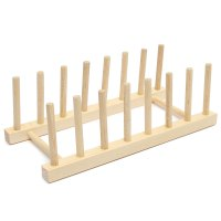 Wooden Plate Stand Wood 7 Dish Rack Pots Cups Display ...