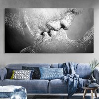 Black & White Love Kiss Abstract Art on Canvas Painting ...