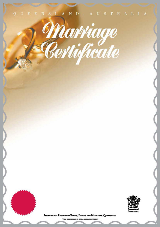 Queensland commemorative marriage certificates Your rights - marriage certificate