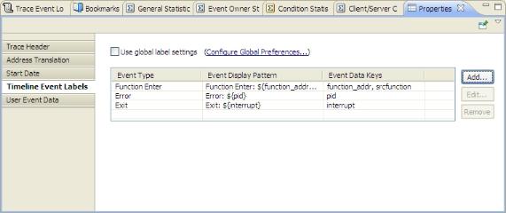 Timeline Event Labels tab