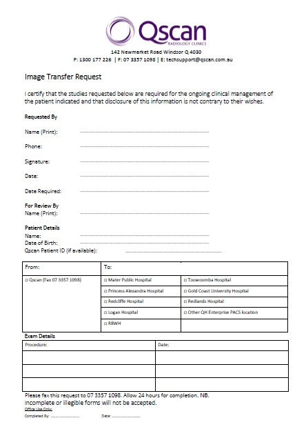Image Transfer Request Form - Qscan