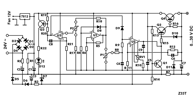 symmetrical regulated power supply and variable 0 to 30v 2a