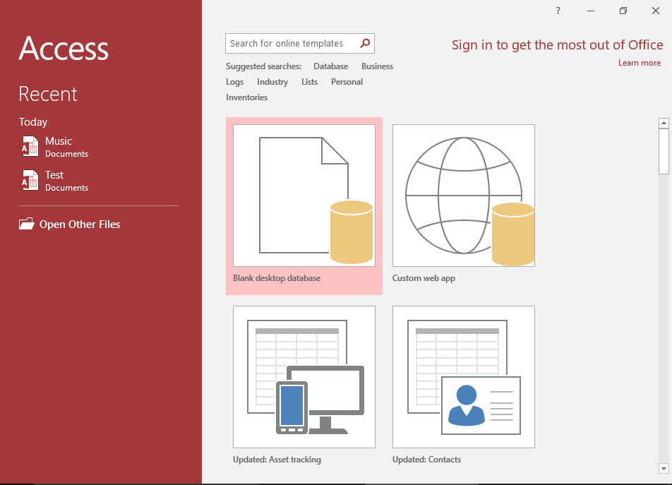 ms access 2013 templates