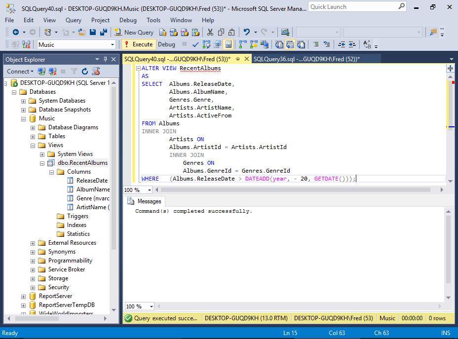 Sql Server 2016 Create A View