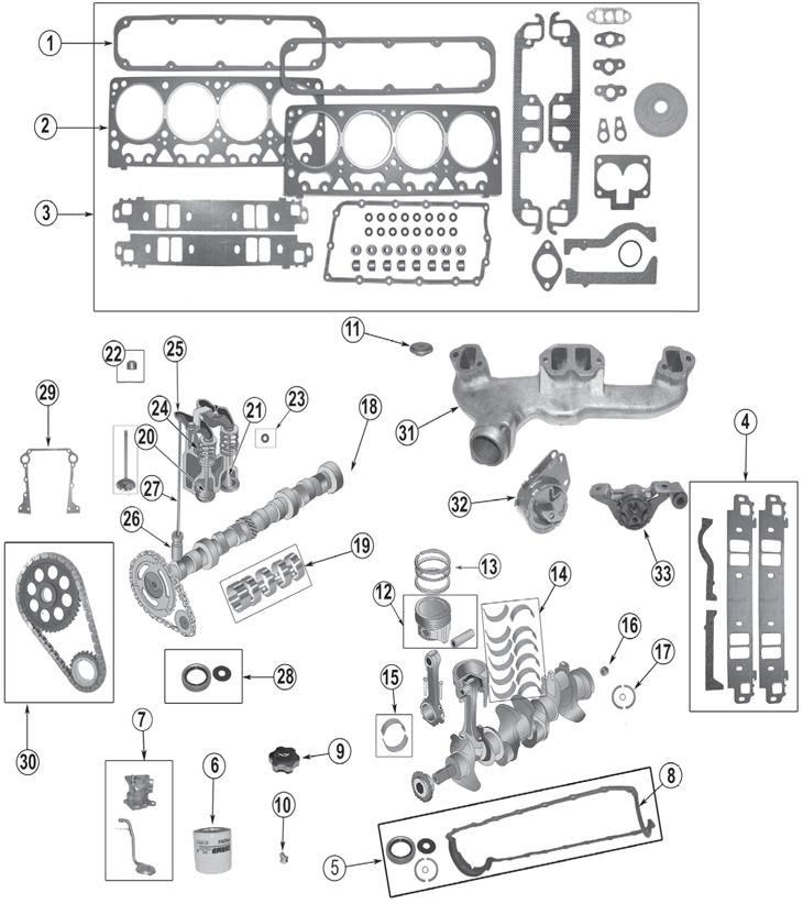 1993-1998 Jeep 52L (318ci)  59L (360ci) 8 Cylinder Engine