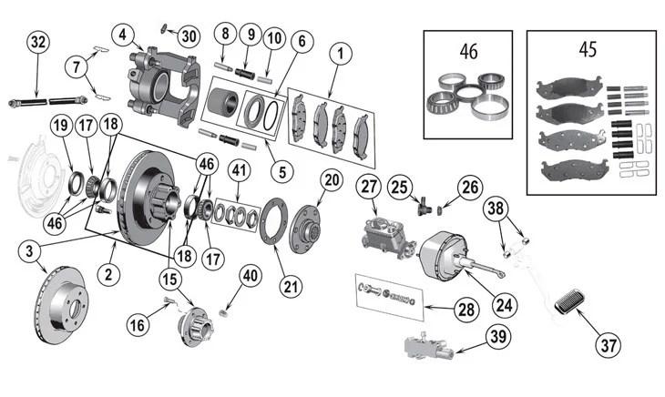 Jeep CJ Series Front Brake Parts (\u002776-\u002786) Quadratec