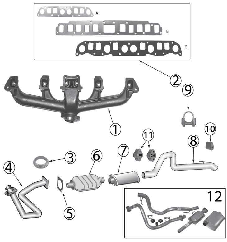 Jeep Wrangler YJ Exhaust Parts (\u002787-\u002795) Quadratec