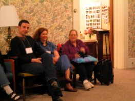 """Philip Arnold from the Quaker Bookshop in London, Ann Raper of North Carolina YM (FUM) publications committee and Liz Yeats, a former FGC employee and longtime QUIP stalwart (Ann and Liz are also both board members of """"Friends Journal)."""