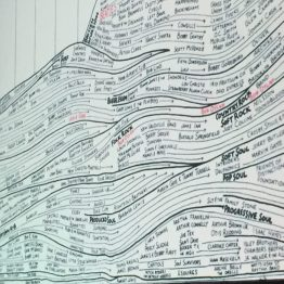 """Data and beauty: here he shows a history of late-20th century pop music, a chart that reminded me of my current project of listening to """"1001 Albums You Must Listen to Before You Die"""" list."""